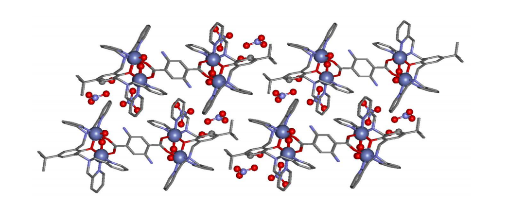 The crystal structure involves cobalt molecules (big blue balls) and nitrogen (small blue balls)