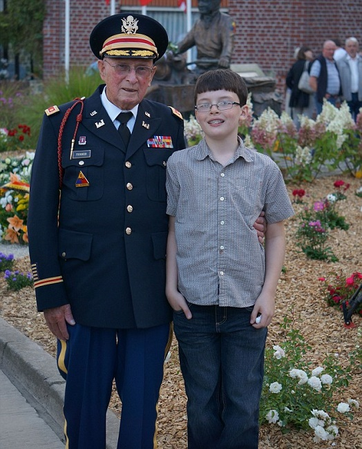 Benjamin Grioux with His great grandfather WWII veteran