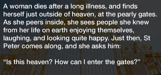 He thought he too would be in heaven with his wife, but she tells him this instead