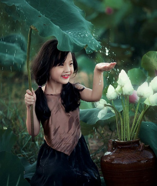 Girl enjoying rains