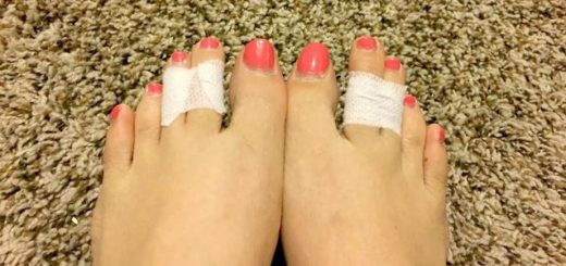 New life hacks. Why are women taping toes together