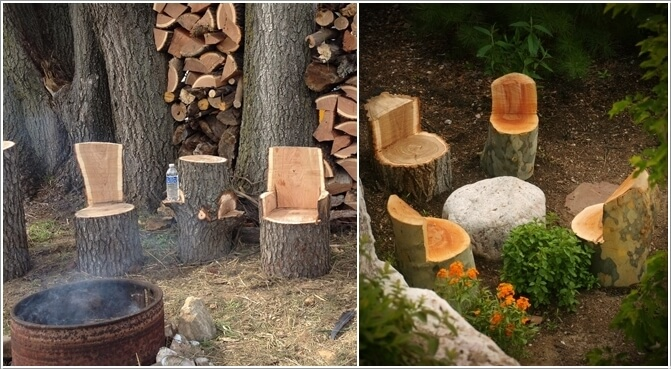 Individual seating ideas from tree stumps