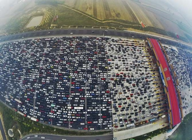 Longest traffic jam in Beijing, China