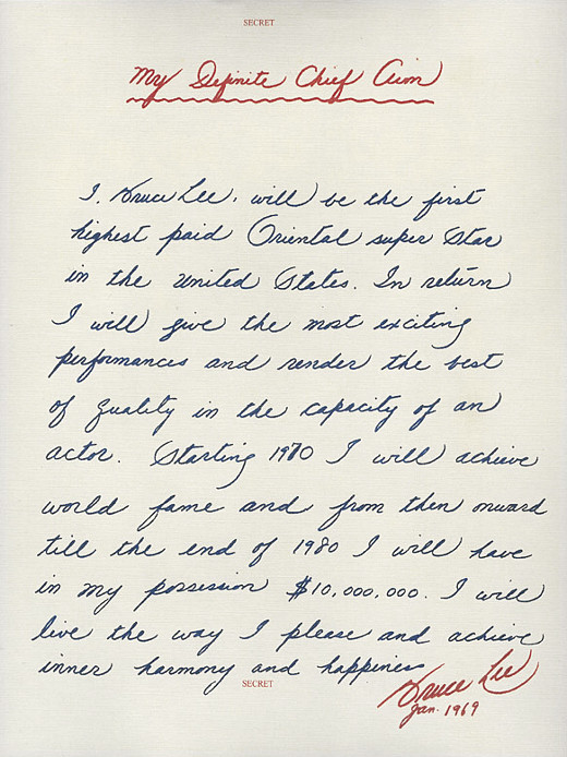Bruce lee's letter to himself