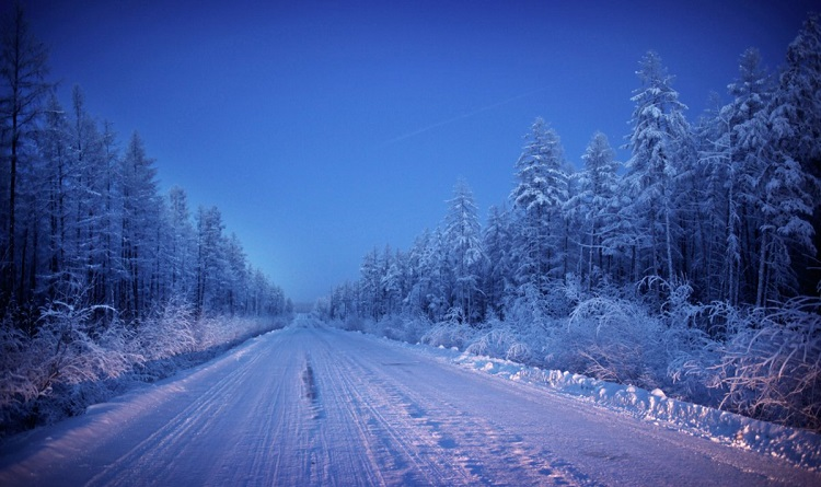 Barren road to Oymyakon