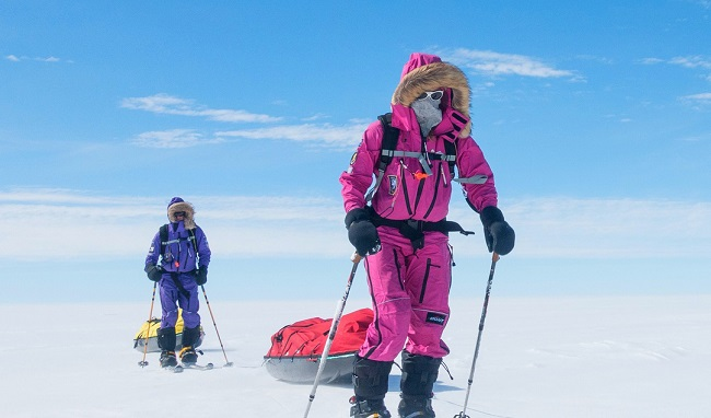 Hameister skied over to the Ceremonial South Pole again